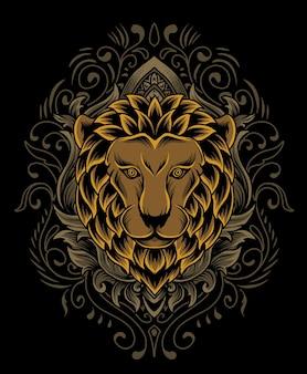 Testa di leone con ornamento incisione