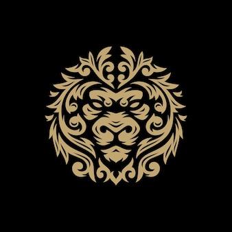 Testa di leone con illustrazione del logo tribale floreale su sfondo scuro
