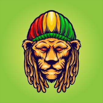 Testa di leone con mascotte cappello giamaicano