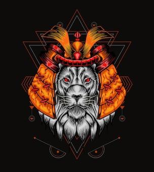 Illustrazione di elmo di leone geometria sacra