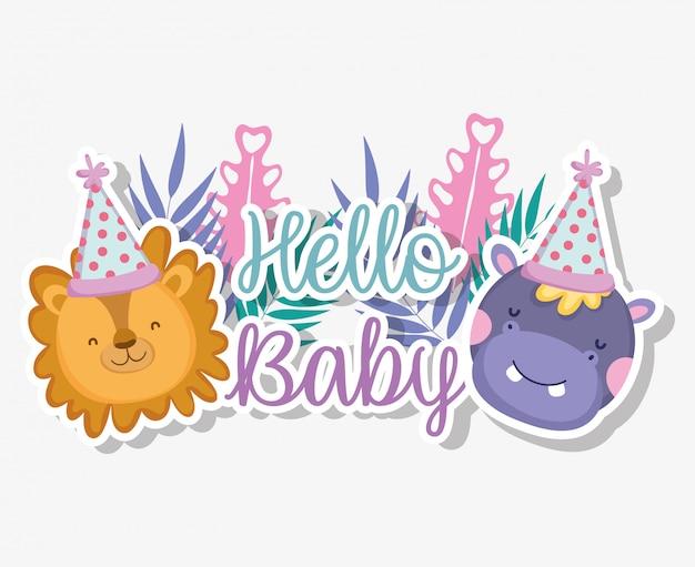 Leone e ippopotamo con cappello da festa per baby shower