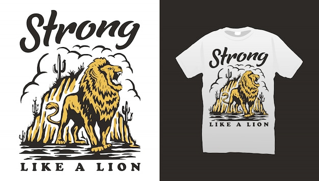 Design t-shirt illustrazione leone