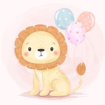 Illustrazione di leone con palloncini