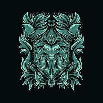 Illustrazione del leone con ornamento