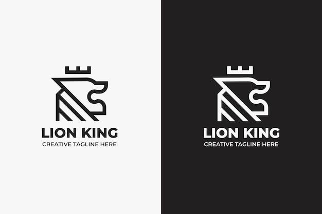 Re leone in bianco e nero silhouette logo