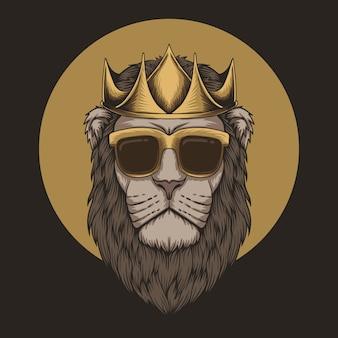 Testa di re leone corona