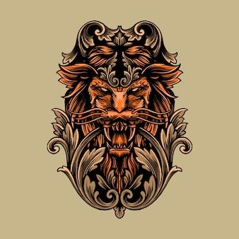 Re leone decorato con ornamenti