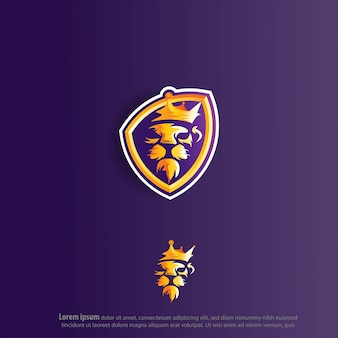 Lion king e sport logo vector