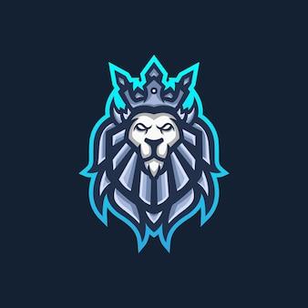 Modello di logo della mascotte di gioco di lion king esport per la squadra di streamer.