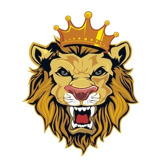 Testa di re leone nel vettore