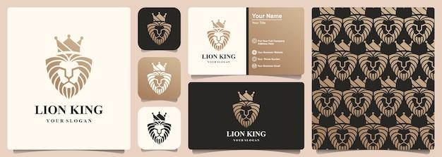 Lion king logo design element combina corona e scudo. modello e design biglietto da visita
