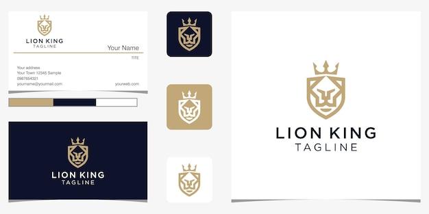 Elemento di design logo re leone combinare scudo