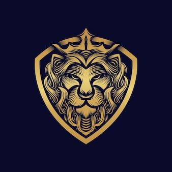 Disegno di marchio del re leone isolato su blu scuro