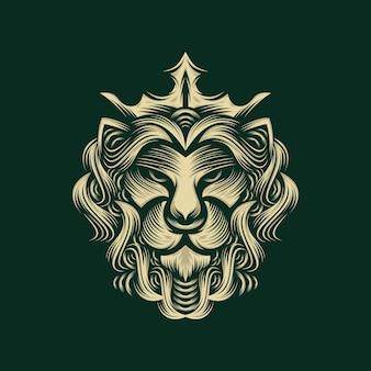 Disegno di marchio del re leone isolato su verde