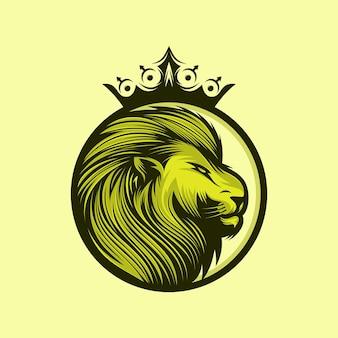 Disegno di marchio del re leone isolato su giallo