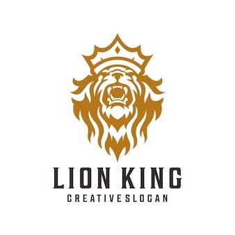 Logo di lusso del re leone, leone della corona, illustrazione del leone reale