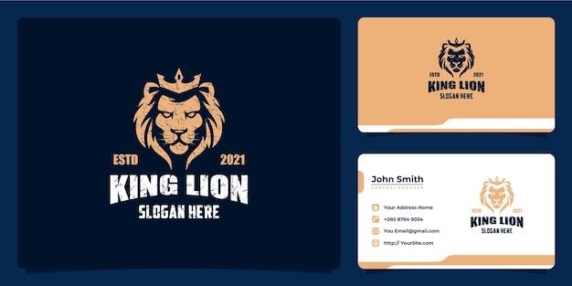 Logo vintage di lusso del re leone e biglietto da visita