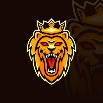 Modello di logo mascotte re leone