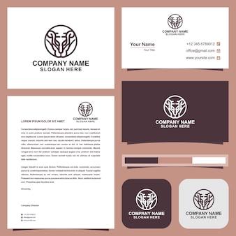 Design del logo monolinea del re leone e biglietto da visita premium