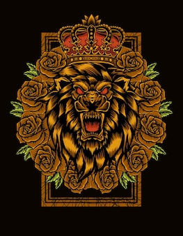 Re leone con fiore rosa