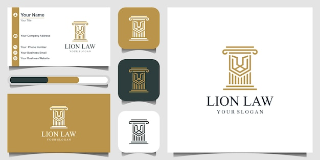 Legge leone con pilastro logo design ispirazione, concetto di legge e giustizia e biglietto da visita