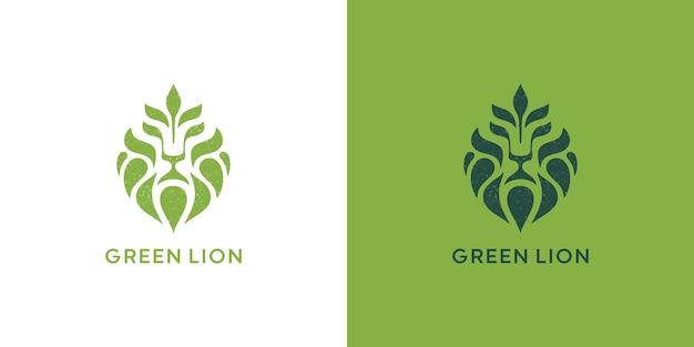 Disegno del logo leone e foglia vettore premium