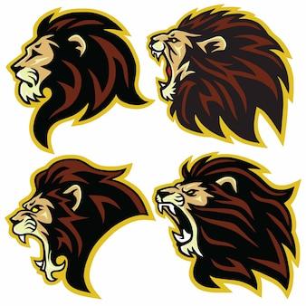 Vettore stabilito dell'insieme della raccolta della mascotte di logo del leone