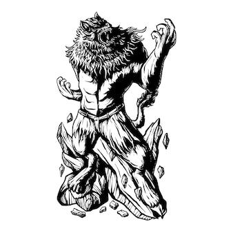 Illustrazione vettoriale premium dell'uomo leone