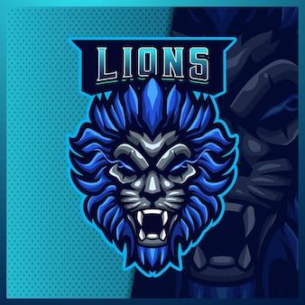 Leone mascotte esport logo design illustrazioni modello logo leone blu