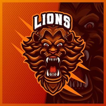 Leone mascotte esport logo design illustrazioni modello, logo tigre stile cartone animato