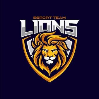 Leone mascotte esport logo design