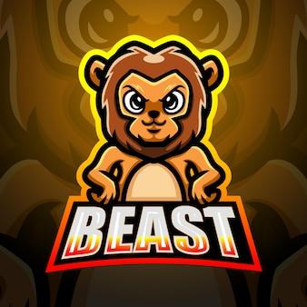 Illustrazione del logo esport della mascotte del leone