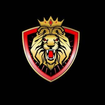 Disegno di marchio della mascotte del leone isolato sul nero