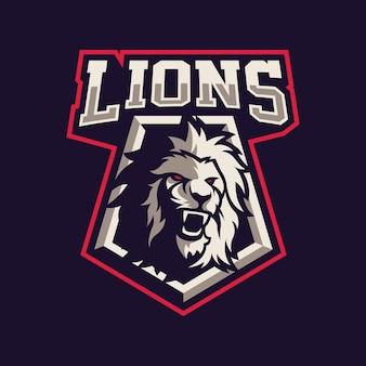 Disegno di marchio della mascotte del leone per lo sport isolato su viola