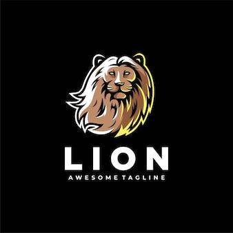 Leone mascotte logo design vettoriale