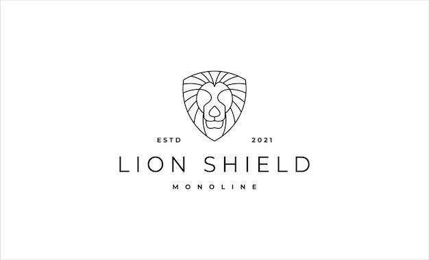 Leone monoline logo design illustrazione vettoriale