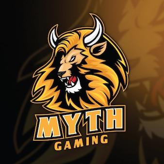 Lion myth esport logo modello