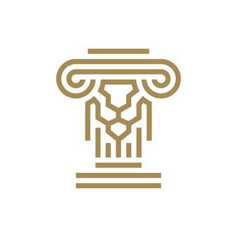 Illustrazione dell'icona di vettore del logo della colonna ionica della legge del pilastro del leone