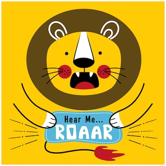 Leone ruggente divertente cartone animato animale