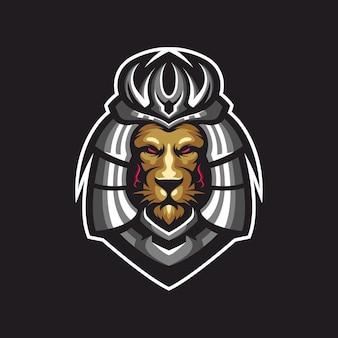 Design del logo leone samurai con vector