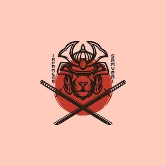 Mascotte del logo del samurai del leone