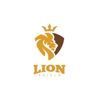 Logo di sicurezza del leone icona di vettore di corona e scudo di testa di leone