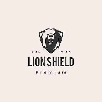 Illustrazione dell'icona di logo vintage hipster di scudo del leone