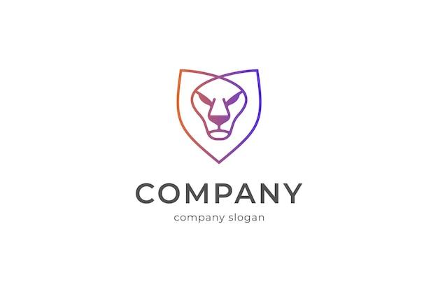 Illustrazione dell'icona di vettore del modello di logo dello scudo del leone