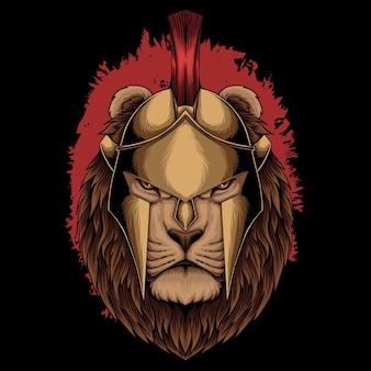 Illustrazione vettoriale di leone sparta casco