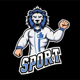 Logo della mascotte del gioco lion sport ed esport