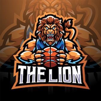 Il logo della mascotte di lion sport esport