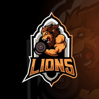 Vettore di progettazione del logo della mascotte di sport del leone con illustrazione moderna