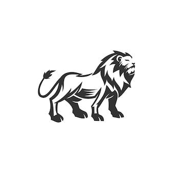 Disegno della mascotte dell'emblema dell'illustrazione in piedi del leone modello