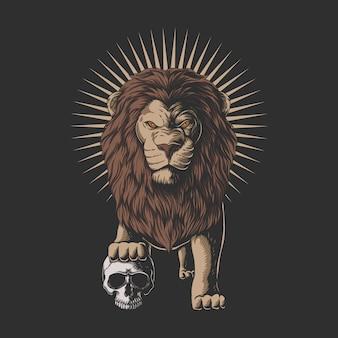 Il leone ha calpestato un'illustrazione del cranio umano
